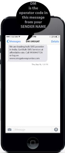 Operator Codes in Sender Name Explaination